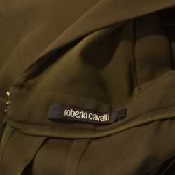 Roberto Cavalli Olive Green Crepe Sequin Trim Maxi Dress M