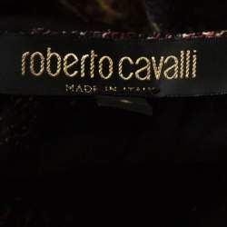 Roberto Cavalli Black Printed Stretch Knit Neck Tie Detail Top S
