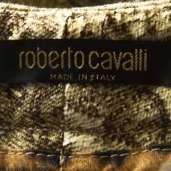 Roberto Cavalli Beige Lace Print Cotton Maxi Skirt M
