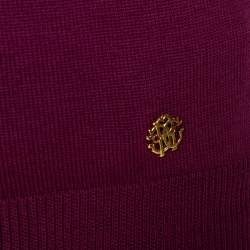Roberto Cavalli Purple Wool Metal Neck Detail Top M