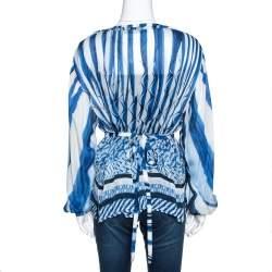Roberto Cavalli Blue and White Deco Print Silk Tie Up Blouse M