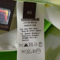 Roberto Cavalli White & Green Printed Stretch Silk Button Front Shirt L
