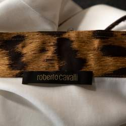 Roberto Cavalli White Cotton Contrast Detail Button Front Shirt L