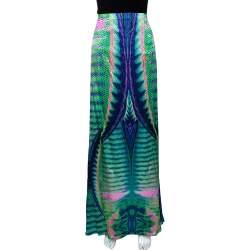 Roberto Cavalli Multicolor Animal Print Silk Flared Skirt L
