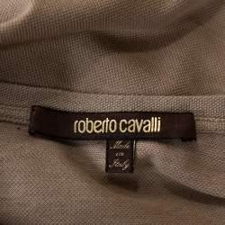 Roberto Cavalli Brown Logo Print Cotton Pique T-Shirt M