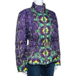 Roberto Cavalli Purple Snakeskin Print Belted Puffer Jacket L