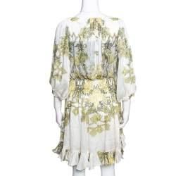 Roberto Cavalli White & Yellow Floral Print Silk Ruffled Dress L
