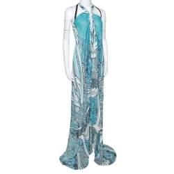 Roberto Cavalli Blue Silk Gathered Asymmetric Halter Dress S
