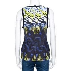 Roberto Cavalli Black Printed Stretch Jersey Sleeveless Top M