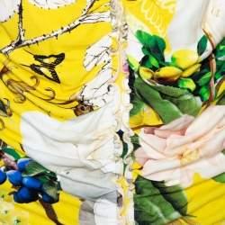 Roberto Cavalli Yellow Wonderland Floral Print Lace Detail Top L