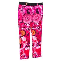 Roberto Cavalli Pink Floral Print Stretch Cotton Pants S