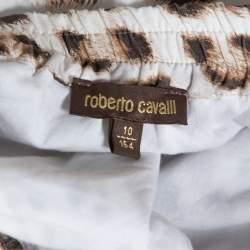 Roberto Cavalli Bicolor Leopard Print Cotton Tiered Midi Skirt M