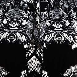 Roberto Cavalli Monochrome Abstract Paisley Printed Jersey Top M