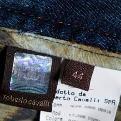 بنطلون جينز روبرتو كافالي فضفاض تفاصيل سلسلة دنيم ممزق إنديغو M