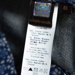 بنطلون جينز روبرتو كافالي ساق مستقيمة جيب فلوك دنيم أزرق L