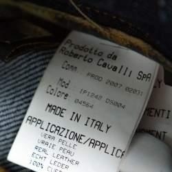 بنطلون جينز روبرتو كافالي ساق مستقيمة دنيم مغسول أزرق داكن L
