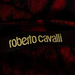 Roberto Cavalli Red Leopard Print Jersey Fitted Maxi Dress M