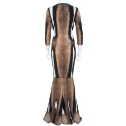 Roberto Cavalli Brown Fur Print Jersey Brooch Detail Maxi Dress M