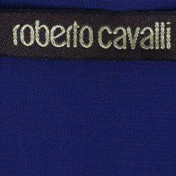 Roberto Cavalli Blue Chiffon Jersey Top M