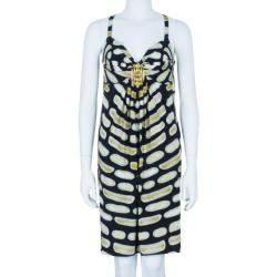 Roberto Cavalli Sleevless Printed Brooch Detail Dress M