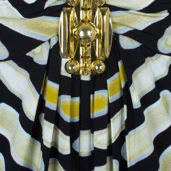 Roberto Cavalli Sleevless Printed Brooch Detail Dress M