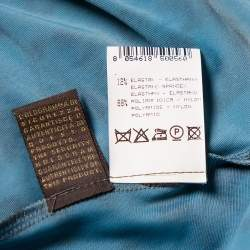 Roberto Cavalli Teal Blue Animal Printed Knit Plunge Neck Maxi Dress S