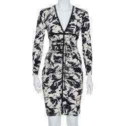 Roberto Cavalli Monochrome Printed Knit Ruched Plunge Neck Dress S