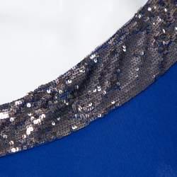 Roberto Cavalli Royal Blue Knit Sequin Embellished Detail One Shoulder Maxi Dress S