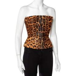Roberto Cavalli Brown Animal Print Fur & Leather Trim Strapless Corset Top S