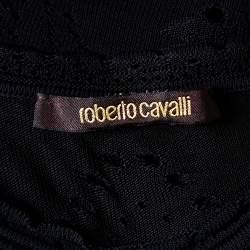 Roberto Cavalli Black Perforated Knit Tank Top S