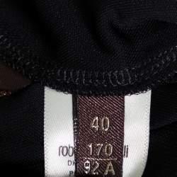 Roberto Cavalli Black Knit Ruffled Maxi Wrap Dress S