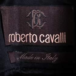Roberto Cavalli Black Satin Button Front Coat S