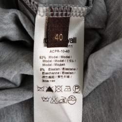 Roberto Cavalli Grey Sequin Embellished Modal Long Sleeve Scoop Neck Top S