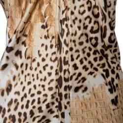 Roberto Cavalli Beige Animal Printed Silk Satin Halter Neck Maxi Dress M