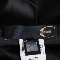 Roberto Cavalli Black Satin Ruffle Hem Detail Maxi Skirt M