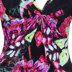 فستان ماكسي روبرتو كافالي تريكو أسود مطبوع برقبة مزينة مقاس صغير - سمول