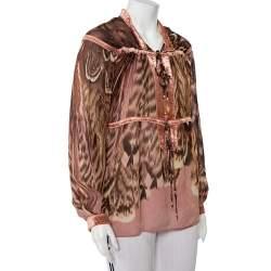 Roberto Cavalli Multicolor Animal Printed Silk Velvet Trim Sheer Blouse L