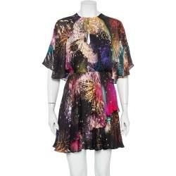 Roberto Cavalli Multicolor Firework Printed Silk Ruffled Mini Dress S