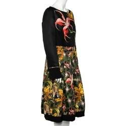 Roberto Cavalli Multicolored Printed Sateen Pleated Midi Dress L