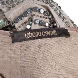 Roberto Cavalli Beige Embellished Sleeveless Top S
