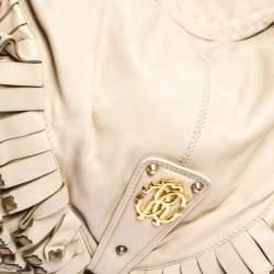 Roberto Cavalli Cream Leather Studded Fringe Hobo