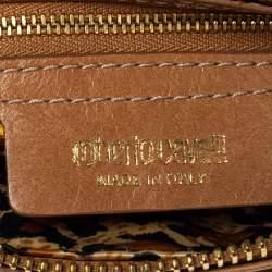 Roberto Cavalli Tan Leather Multiple Pocket Top Handle Bag