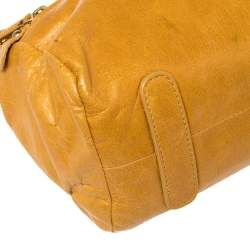 Roberto Cavalli Mustard Yellow Leather Mini Diva Top Handle Bag