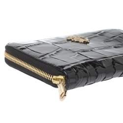 Roberto Cavalli Black Croc Embossed Patent Leather Zip Around Wallet