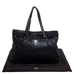 Roberto Cavalli Black Leather Regina Satchel