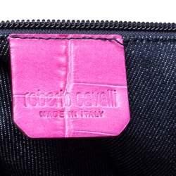 Roberto Cavalli Pink Croc Embossed Leather Shopper Tote