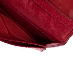 Roberto Cavalli Red Leather Crest Flap Wallet