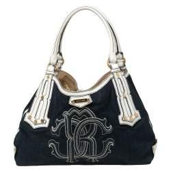 Roberto Cavalli Navy Blue/White Denim and Leather Logo Shoulder Bag