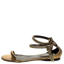 Roberto Cavalli Bronze Leather Crystal Embellished Ankle Strap Flat Sandals Size 38