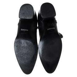 Roberto Cavalli Black Leather Logo Ankle Boots Size 40